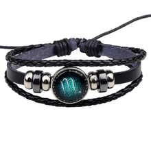 Twelve constellations luminous glass buckle bracelet leather multi-layer braided retro style hot sale pulsera hombre