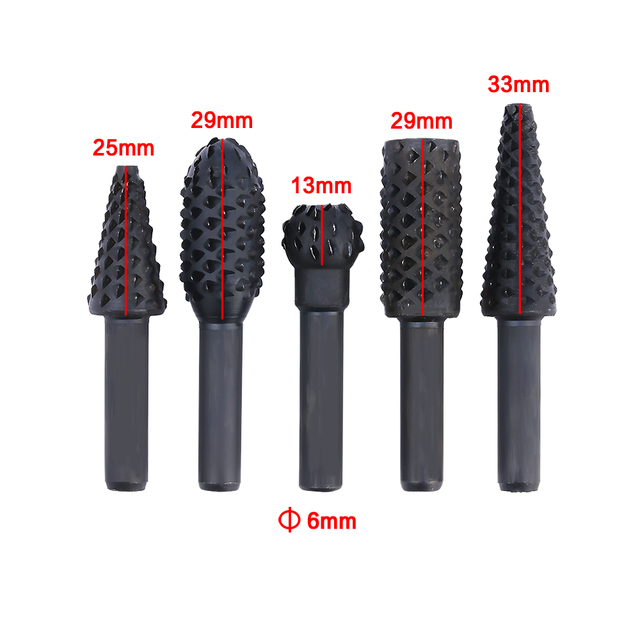 Onnfang 1/4″ Shank Rotary Craft Files 5 Pcs High Quality Rotary Rasp File Rasp Burrs Wood Bits Grinding Woodworking Hand Tool