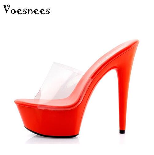 High Quality Big Yards Slipper 34-44 Women Shoes Slides Ultra-high-heeled 15cm Platform Wedding Shoe Stransparent Slippers 15cm club shoes big star with steel tube dancing shoes 34 and 46 yards high with the lacquer that bake single crystal shoes