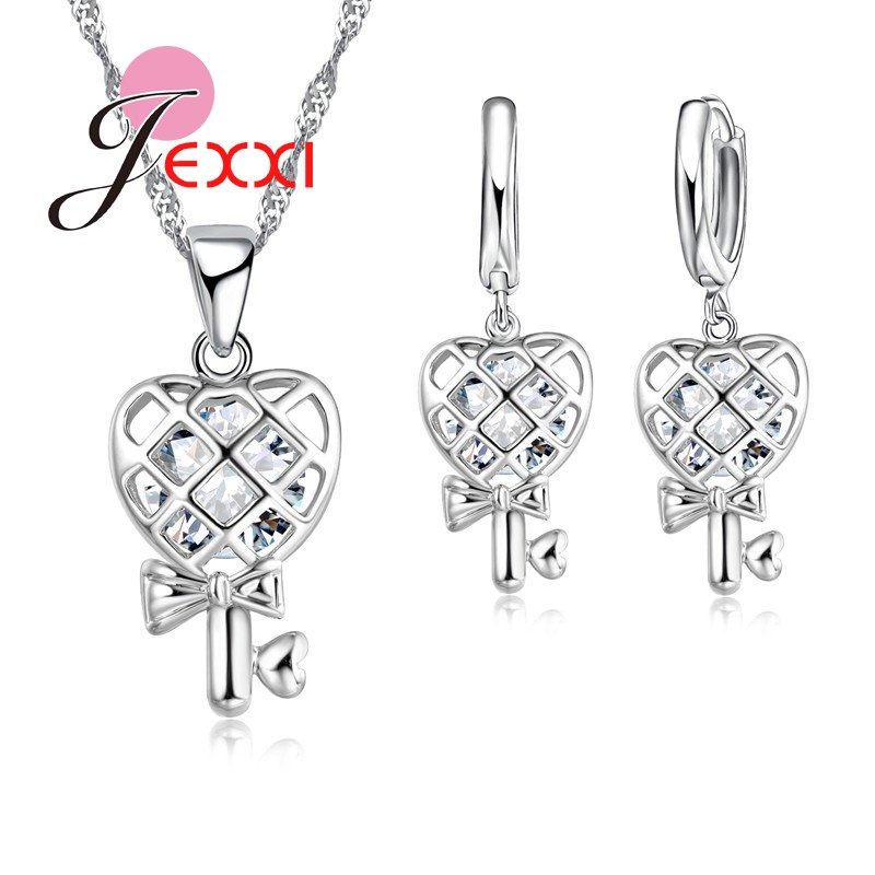 JEXXI New Design Heart And Bowknot Shape Necklace + Earring Set Women Fashion Jewelry Silver Chain Sweater Pendant Luxury Gifts ...