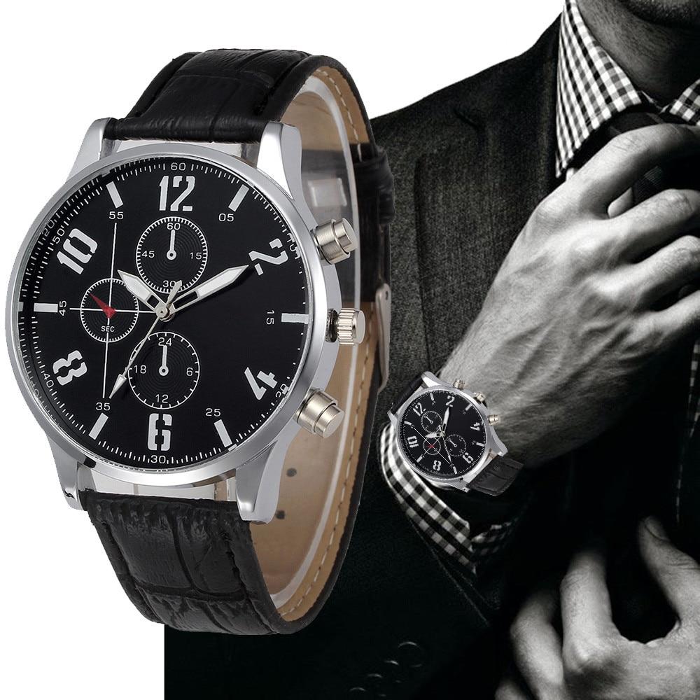 цена на Military Watch Relogio Masculino Mens Watches Top Brand Luxury Retro Design PU Leather Mechanical Analog Quartz Watches