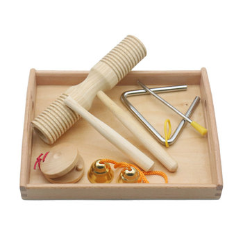Wooden Montessori Instrument Set with Tray Orff Teaching Material Percussion Noise Maker Educational Toys For Children MA0964H