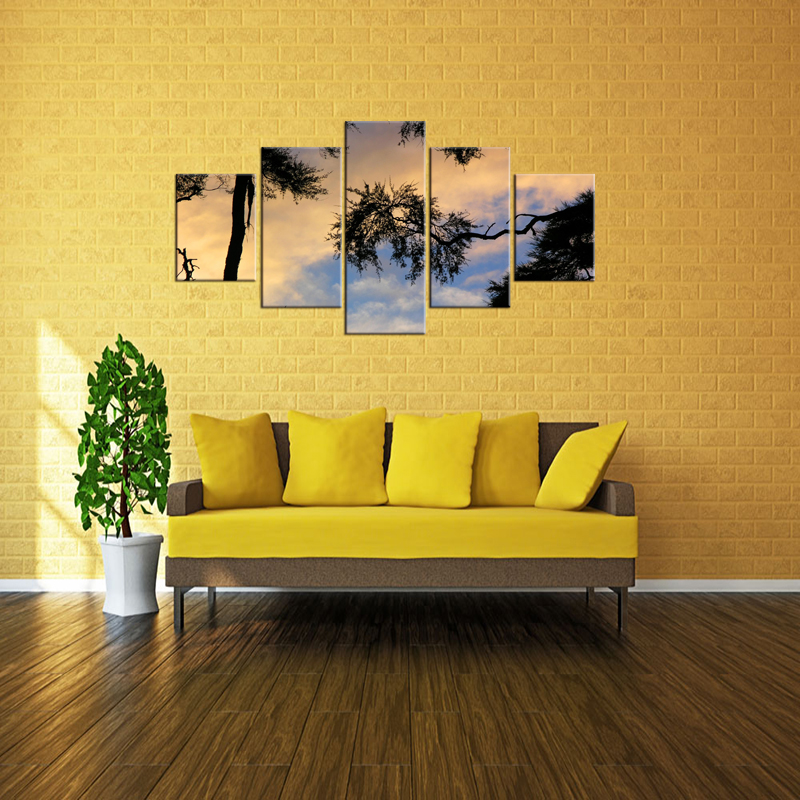 5 Pieces Free Shipping painting HD Print Sunset tree picture decoration wall pictures for living room oil paintings Framed in Painting Calligraphy from Home Garden