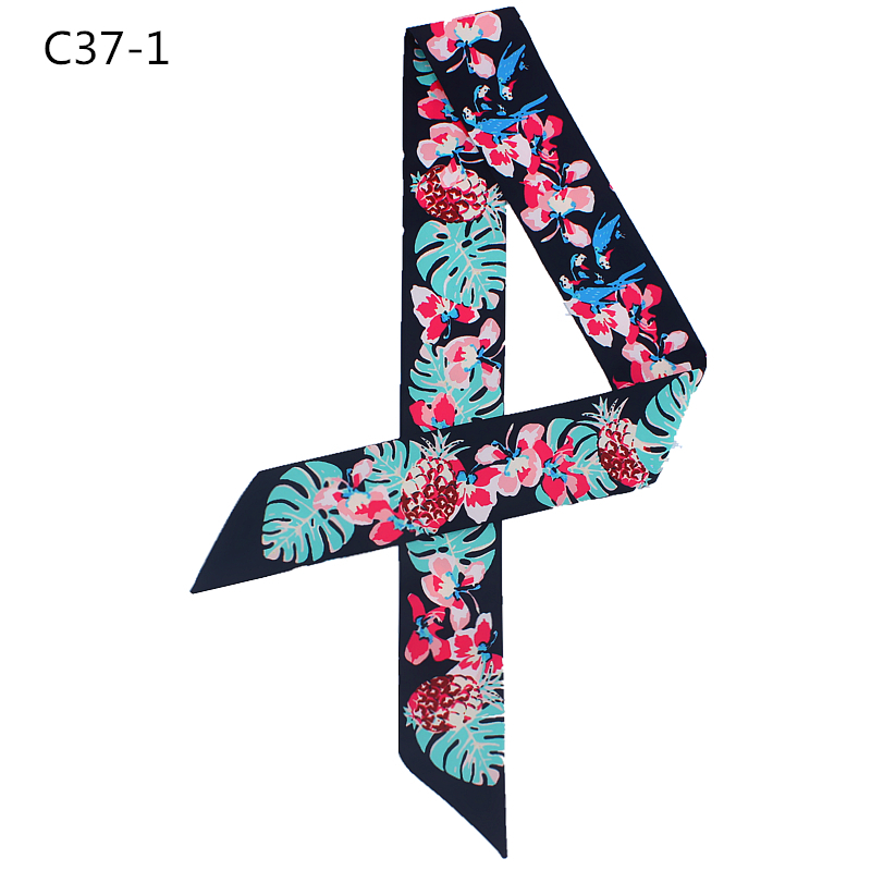 Design Women Silk Skinny   Scarf   Floral Print Hair Scarfs Ribbon Bag   Scarves     Wrap   Band Fashion Girl Neckerchief Tie