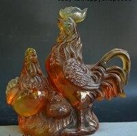 Народная Китай янтаря ручной резьбой фэн шуй 12 Зодиак Год Петух богатство статуя