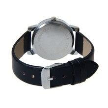Men's Quartz Dial Glass Time Men Clock Leather Business Round Case Hour Watch