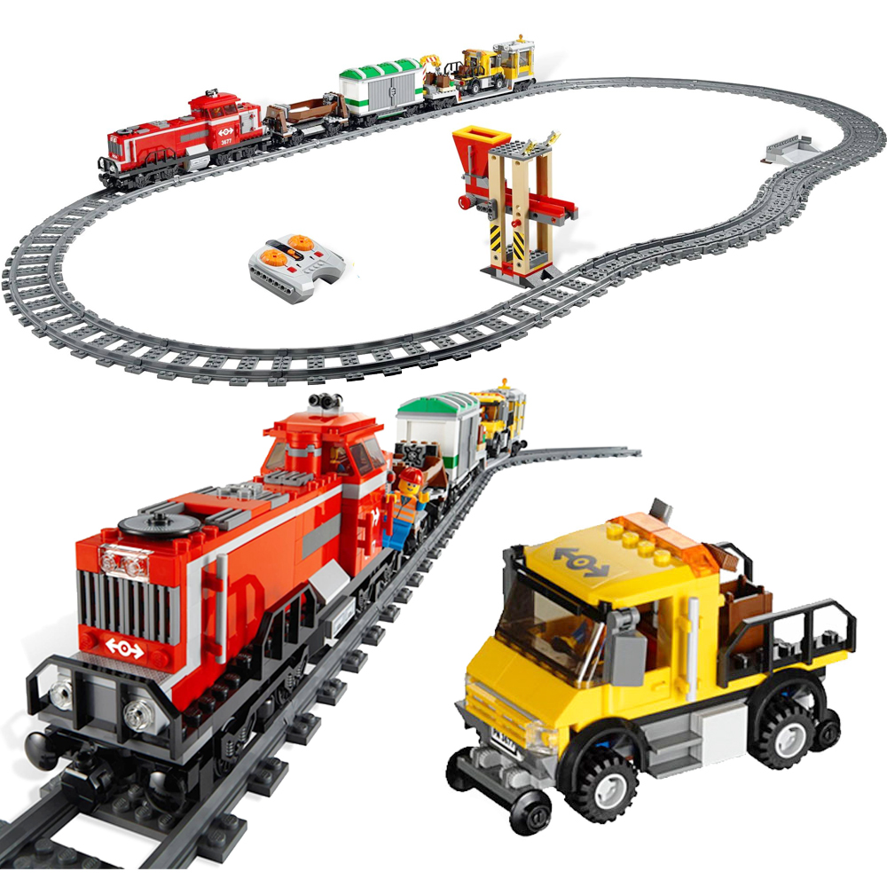 898pcs Fit Legoness City 3677 RC Red Cargo Train Rail Railway Modle Building Blocks kits Brick toys for children Christmas Gifts