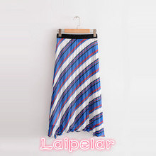 Summer Vintage striped pleated skirt women casual high waist long skirt 2018 korean fashion boho beach party zipper retro skirt abstract striped pleated skirt