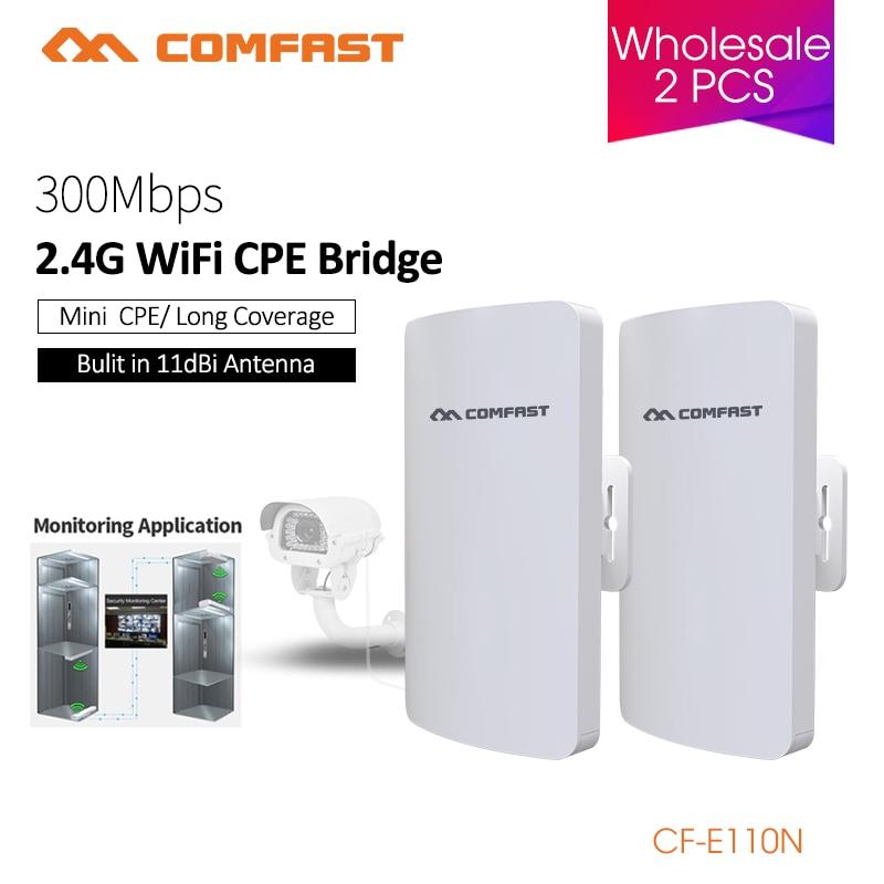 Répéteur extérieur de routeur de CPE Wifi de pont sans fil de COMFAST 2.4 Ghz 300Mbs Mini pour le projet de caméra IP amplificateur de portée de 1-2 KM CF-E110N
