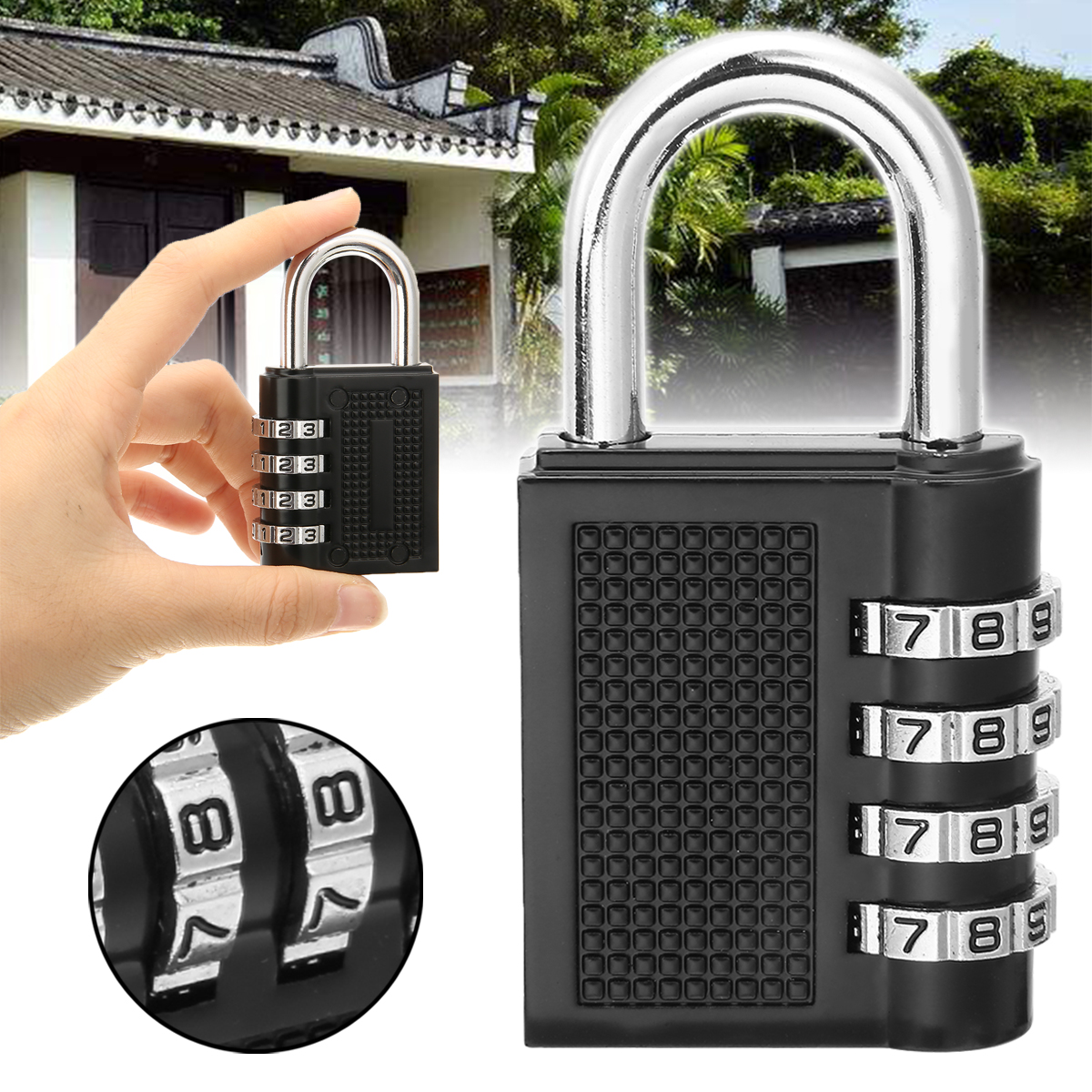 80*43*14mm Heavy Duty 4 Dial Digit Combination Lock Weatherproof Security Padlock Outdoor Gym Safely Code Lock Black