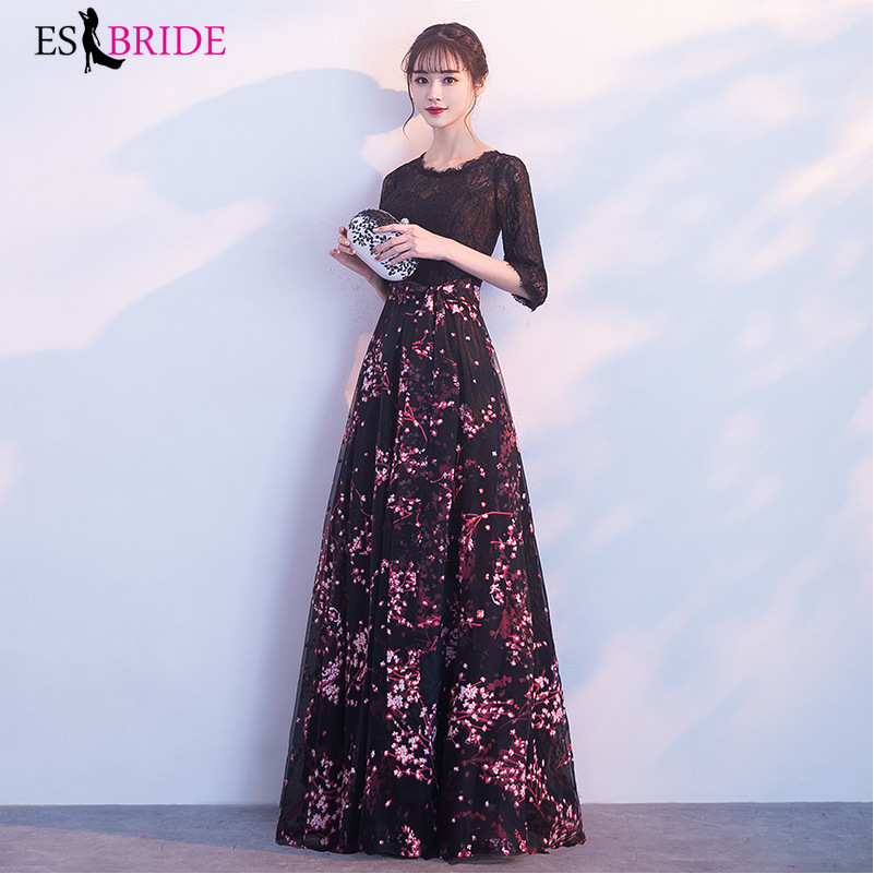 Pink Cherry Blossom Formal Dress Women Elegant Evening Dress 2019 Sexy O-Neck Long Sleeves Prom Party Gown Robe De Soiree ES1839