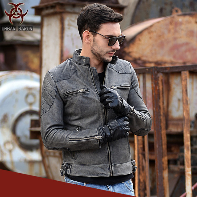 2017 New Vintage Men Leather Motorcycle Jacket Grey Short Slim Fit Genuine Cowskin Men Winter Coat Factory Direct FREE SHIPPING