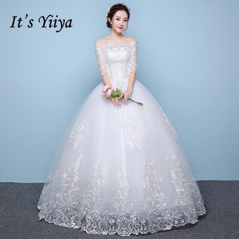 Это yiiya Off White Лодка шеи Половина рукава Модные свадебные платья высококачественных пол Длина вышивка Простой свадебное платье HS270