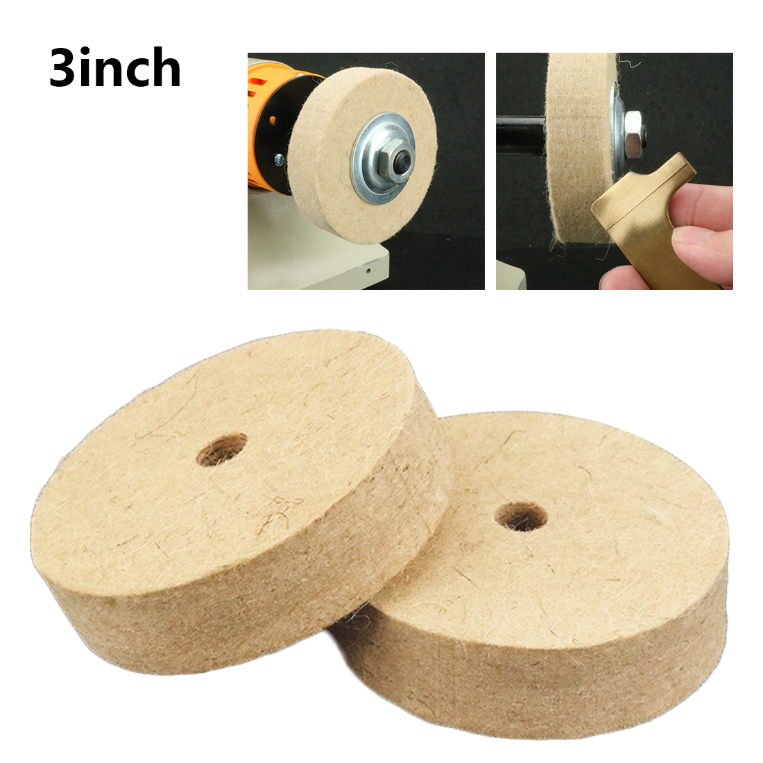 "3//5Pcs 50mm Wool Felt Buffing Disc Pad Jewelry Polishing Wheel With 1//8/""Shank"