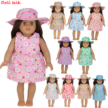 Doll Talk Dress Fit For American 18inch Girl Clothes 43cm Baby Reborn Babies Dress+Hat Set