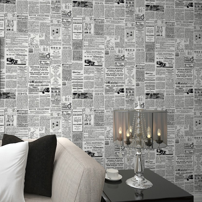 Vintage English Letter Wall Paper Newspaper Wallpaper Old Newsprint Paper  Roll For Living Quarters Decor Black on Cream/Beige-in Wallpapers from Home  ...