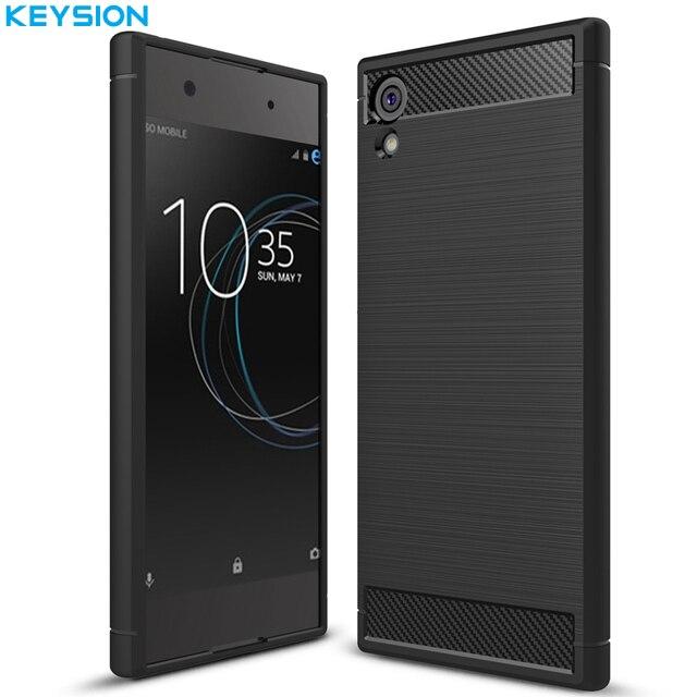 Cas Du Carbone En Silicone Noir Pour Sony Xperia Xa1 IMMpraG4