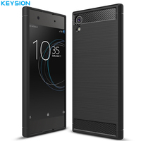KEYSION Case For Sony Xperia XA1 XA1 Ultra Cover Carbon Fibre Brushed TPU Silicone Anti Skid