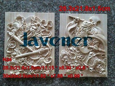 N34 -28.3x21.8cm Wood Carved Long Square Applique Door-god  Decal Working Carpenter