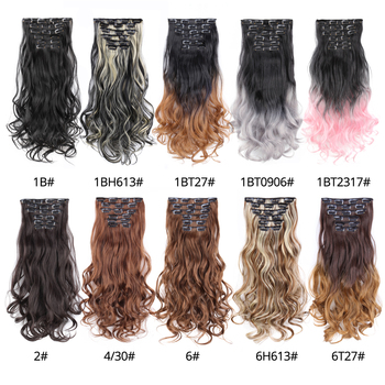 Leeons 22 Inch High Temperature Fiber Curly Synthetic 16 Clips In Hair Extensions For Women Hairpieces Ombre Brown Hair pieces 4