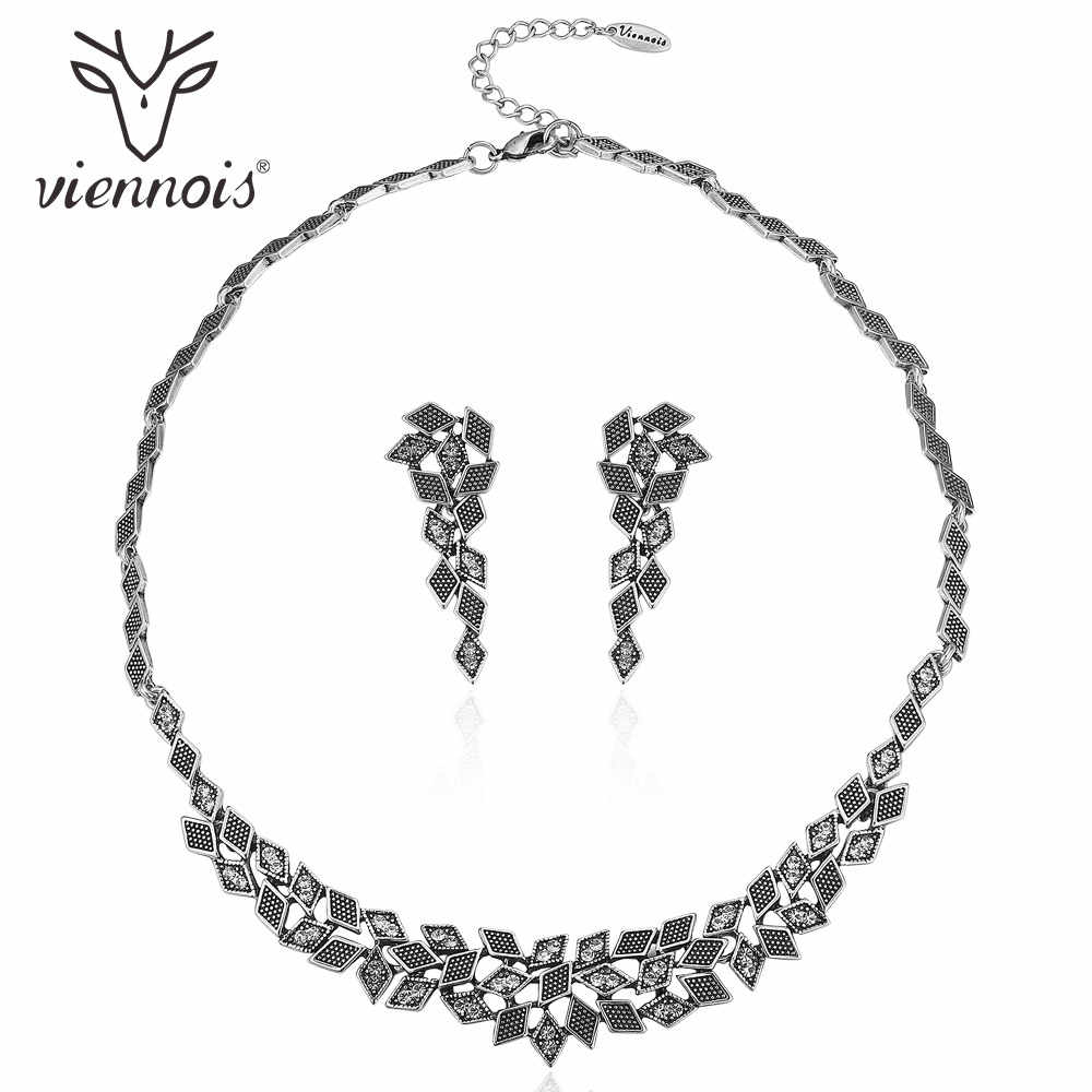 Viennois Retro Silver Color Jewelry Set for Women Geometric Chain Necklaces Vintage Long Earrings Wedding Bridal Jewelry Sets