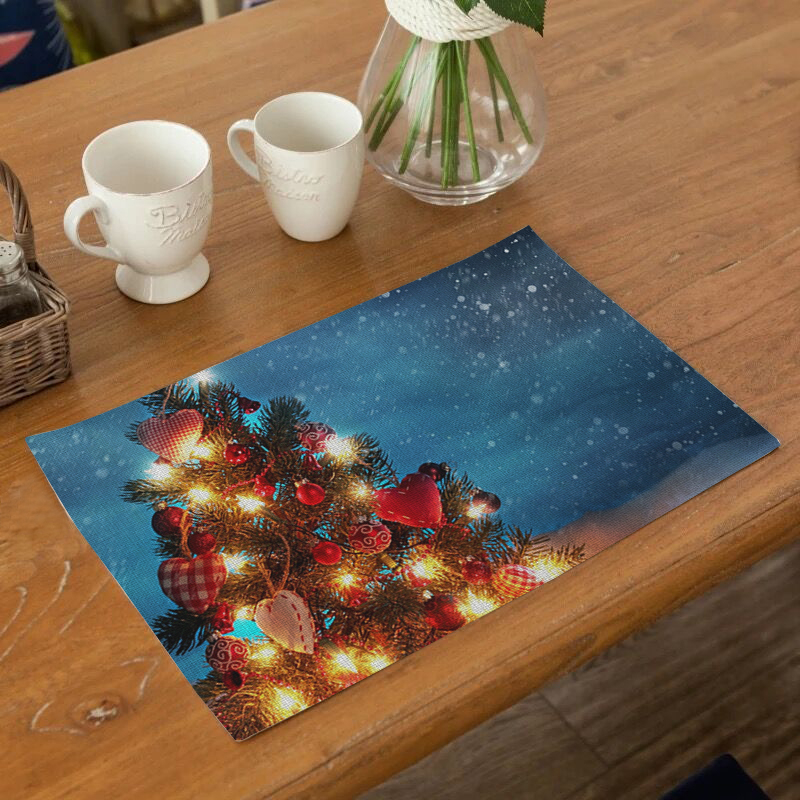 Customizable Christmas Style Placemat Dining Table Mat Drink Coaster Cotton Linen Polyester Pads Bowl Cup Mats Decor