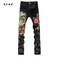 New Men S Fashion Print Jeans Casual Slim Fit Black Black Fancy Painted Denim Pants Long