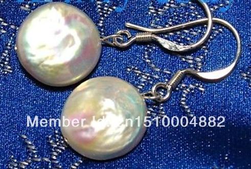 shitou 0015 5pcs 12mm White Coin Pearl Dangling Earrings 925 Silver