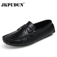 JKPUDUN Genuine Cow leather Mens Loafers 2017 Fashion Handmade Moccasins Leather Men Casual Shoes Black Slip On Men's Boat Shoe