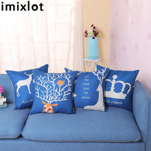 Imixlot 45*45cm Square Christmas Print Flower Pattern Pillowcase Blue Euro Pillowcase Home Decorative beach style dusk coconut tree pattern square shape pillowcase