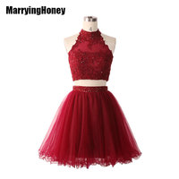 2017 Popular Beaded Two Piece Short Homecoming Dresses Prom Ball Gown Handmade Mini Cocktail Graduation Party