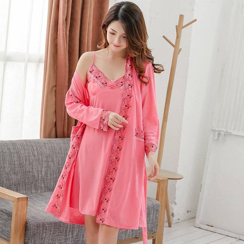 2 Pcs Plus Größe Sexy Baumwolle Roben Set Für Frauen Frühling Herbst Spitze Lange Hülse Nacht Kleid Nachtwäsche Bademantel Zwei Stück Nachthemd