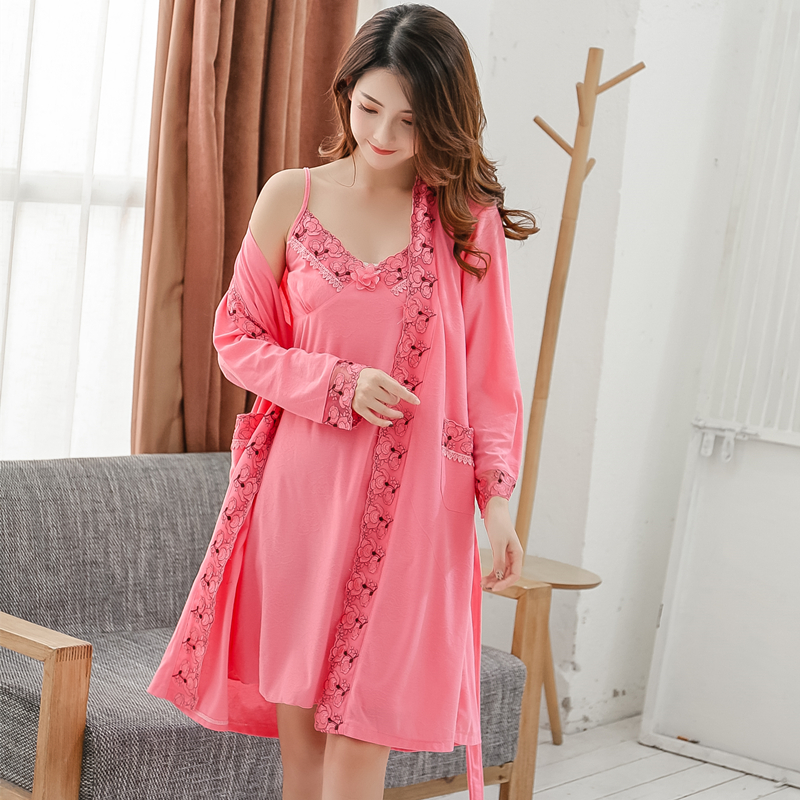 2PCS Plus Size Sexy Cotton Robes Set For Women Spring Autumn Lace Long Sleeve Night Dress Sleepwear Bathrobe Two Piece Nightgown