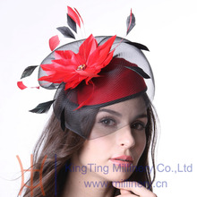 Free Shipping Women Fascinator Hat Cocktail Winter Party Hair Accessories With Special Fascinator Headband Net Feather