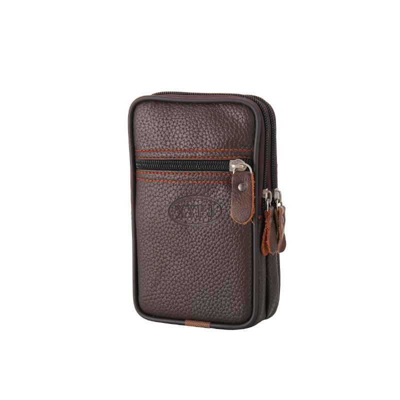 Business Men Wear Belt Mobile Phone Vertical Pockets Cross-Section Imitation Leather Thin Waterproof Mobile Phone Bag