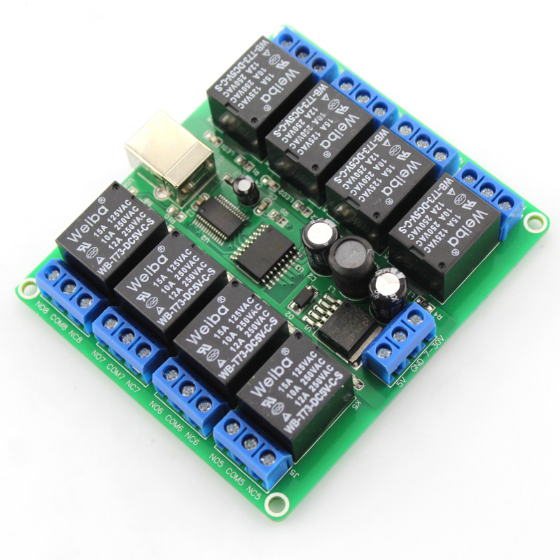 8-way USB relay module (square USB), DIY electronic production material, low-level relay manual model