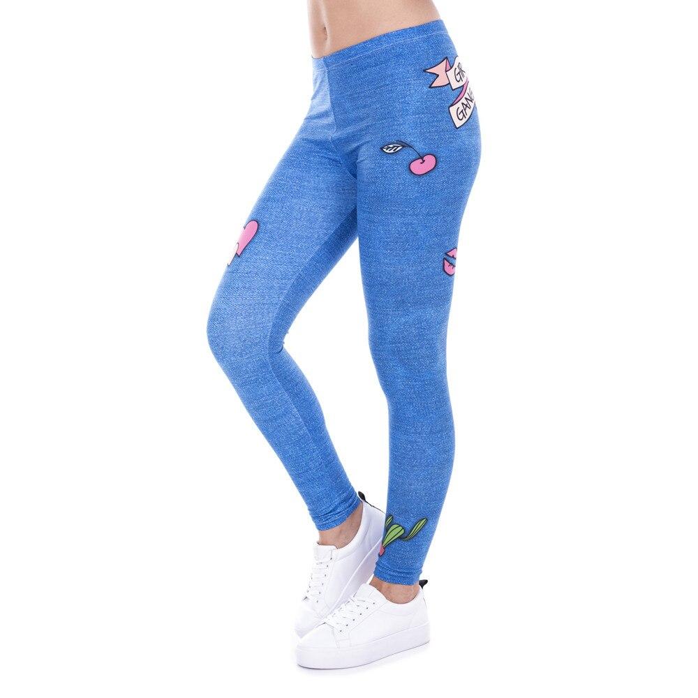 Fashion Legging Female Gang Jeans Design Legins Denim Blue Leggins Printed 100% Brand New Women Leggings Women Pants