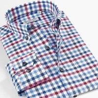Smart Five Brannd Clothing Cotton Mens Shirts Long Sleeve Casual Pattern Plaid Shirts Slim Fit Shirt