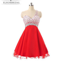 Red Beading Cocktail Party Dresses 2017 Robe Cocktail Courte Chic One Shoulder Short Prom Dress Girls