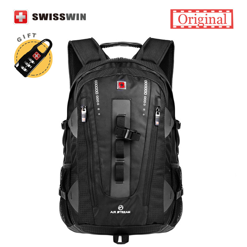 9083fa1df0 Swisswin Brand Fashion Laptop Backpack Bag Swiss Army Black High Quality  38L Large Capacity Travel Waterproof Backpack Male
