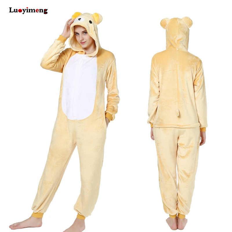 913805073bac Blue Unicorn Pajamas For Women Ladies Kigurumi Winter Cute Animal Flannel  Hoodie Pyjama Adult Sleepwear Panda