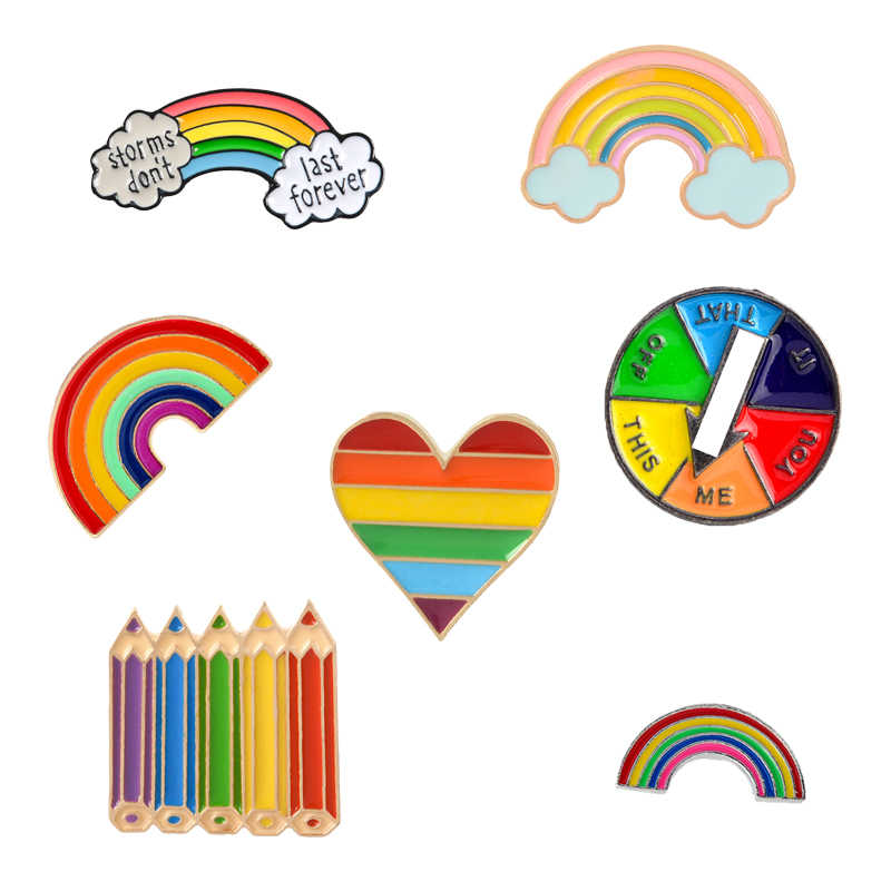 Rainbow Pencil Heart Game turntable Enamel Pin Rainbow Brooches and Pins Bag Clothes Lapel Metal Pin Badge Jewelry Gift For Kids