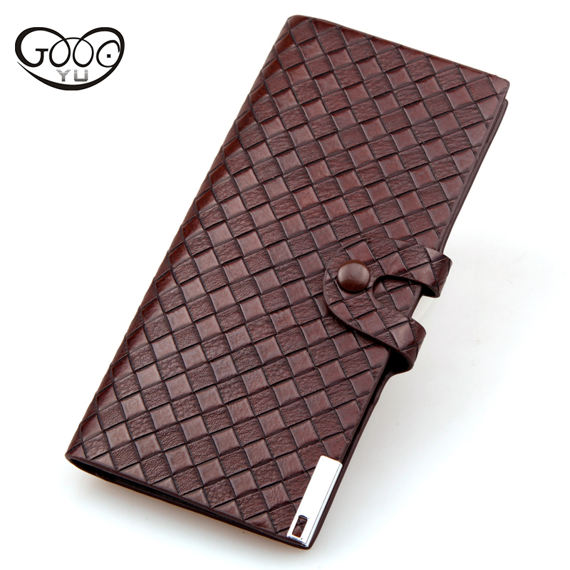 New braided pattern button wallet leisure trend long Large capacity multi-card bit men wallets Casual Mens Leather Wallet