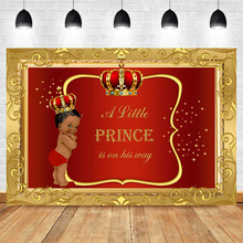 NeoBack Royal Prince Baby Shower Backdrop Black Boy Gold Crown Photography Backdrops Little Red Background Party
