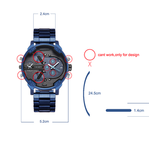 Image 5 - Cagarny 6820 Classic Design Quartz Watch Men Fashion Mens Wrist Watches Blue Stainless Steel Dual Times Relogio Masculino xfcs