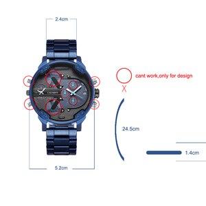 Image 5 - Cagarny 6820 klasik tasarım Quartz saat erkekler moda erkek bilek saatler mavi paslanmaz çelik çift kez Relogio Masculino xfcs