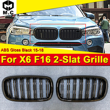 For BMW F16 X6 X6M style Kidney Grill Grille ABS Gloss Black With Badge 1 Pair Double Slats Front Grills 1:1 Replacement 2015-18