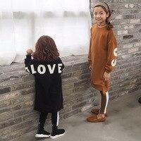 Trẻ em quần áo nữ quần áo lá thư Dài in áo len phù hợp với Khâu xà cạp ấm quần áo trẻ em cho cô gái 30 #