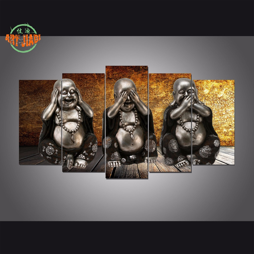 Canvas painting new 5 Pieces HD Printed Buddha Painting Printed On Canvas Wall Art for Living Rom Home Decoration