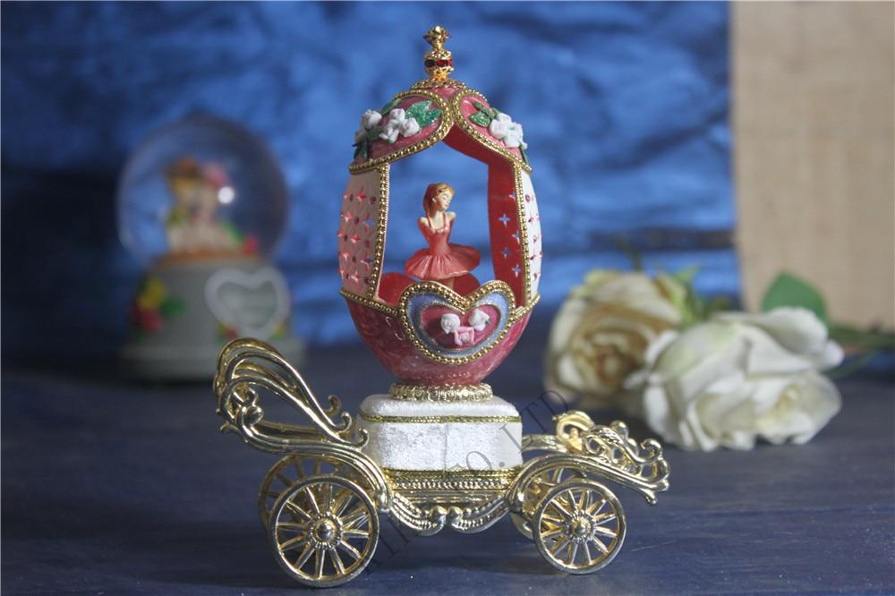 Luxe coquille d'oeuf chariot musique Boxe porte ouverte danse ballerine boîtes à musique boîte à musique femmes saint valentin cadeau de noël